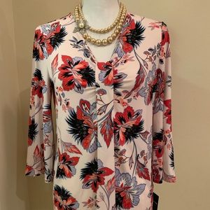 Liz Claiborne Career White with Flowers Top
